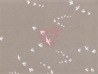 Úplet interlock - ptáci na světle hnědé