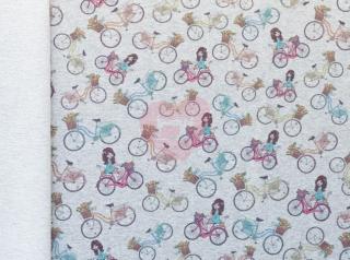 teplákovina šedá melange holčičky na kole
