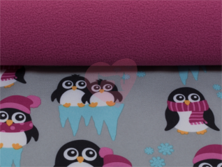 softshell nano tučňáci růžová