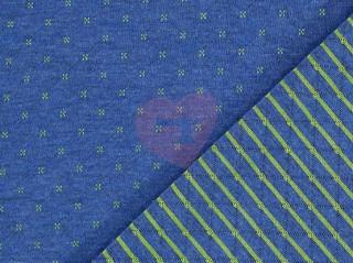 úplet prošev jeans modrá s limetkovými křížky a proužky