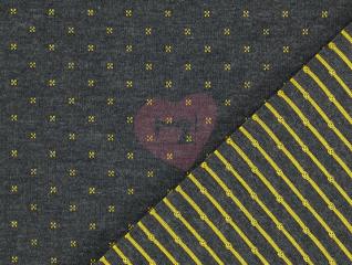 úplet černá melange se žlutými křížky a proužky
