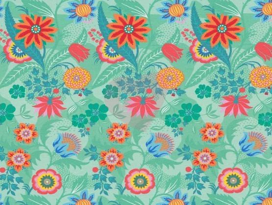 f7afa20bde44 Úplet barevné květy na zelené 64 x 160cm