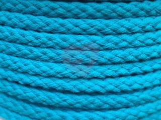 oděvní šňůra kulatá 5,3mm bavlněná krémová tyrkysová modrá aqua