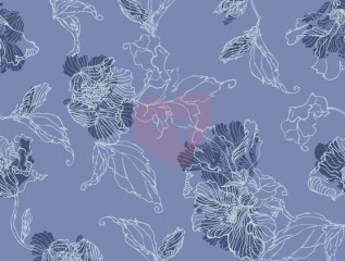 teplákovina květy na modré nepočesaná