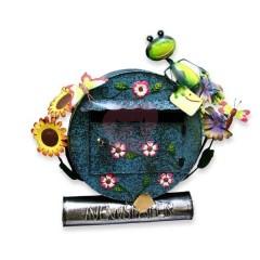 Originální ručně malovaná poštovní schránka žába a slunečnice
