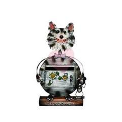 Originální ručně malovaná poštovní schránka kočka černo bílá