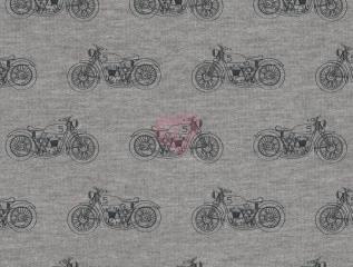 Teplákovina Avalana šedá s motorkami počesaná 21-105