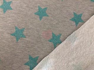 šedá teplákovina french terry s glitrovými zelenými hvězdami