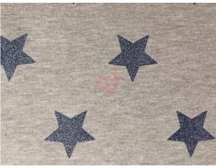 Teplákovina šedá s modrými glitrovými hvězdami