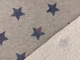 Šedá teplákovina s modrými třpytivými glitrovými hvězdami