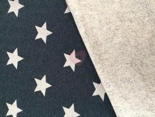 Modrá teplákovina french terry se stříbrnými hvězdami
