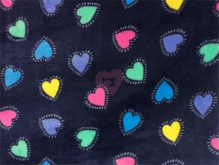 Fleece Little Darling srdíčka na modré 128505